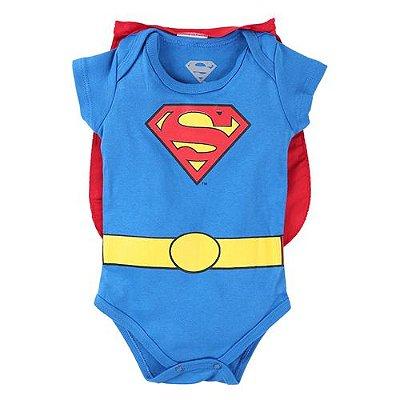 Body Curto Marlan Suedine Estampa Super Homem Com Capa Menino Azul Royal
