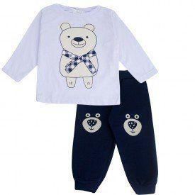 Conjunto Infantil Blusa M/Malha e Calça Moletom Peluciado Ollelê Little