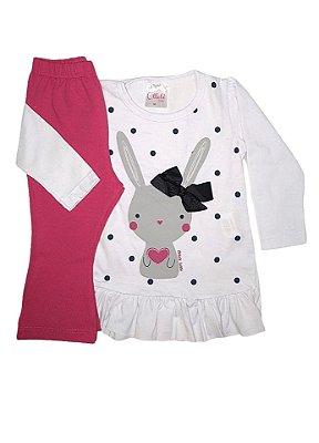 Conjunto Ollelê Menina Blusa de Malha e Calça Legging Cotton Branco/Rosa