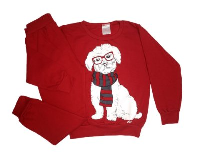 Conjunto Cachorro Menina Camisa Malha Manga Longa e Calça Moletom