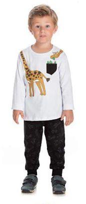 Conjunto Infantil Inverno Menino Blusa Malha e Calça Moletom Peluciado Girafa Ollelê Branco