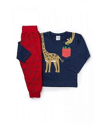 Conjunto Infantil Inverno Menino Blusa Malha e Calça Moletom Peluciado Girafa Ollelê Azul Marinho