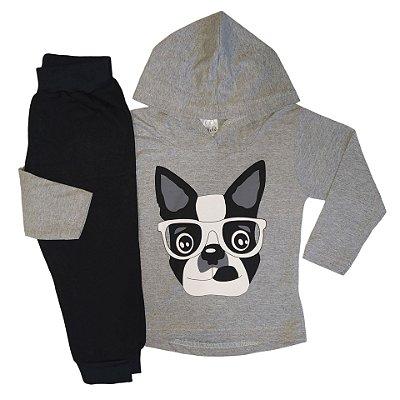 Conjunto Infantil Inverno Menino Blusa Malha e Calça Moletom Peluciado Cachorrinho Ollelê Mescla