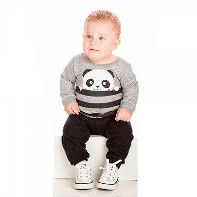 Conjunto Infantil Inverno Moletom Peluciado Ollelê Little Panda