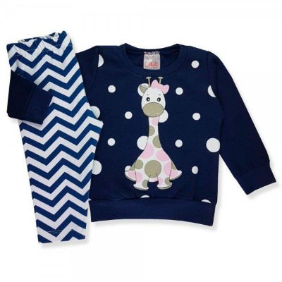 Conjunto Infantil Inverno Moletom/Cotton Menina Ollelê Little Girafa Azul Marinho