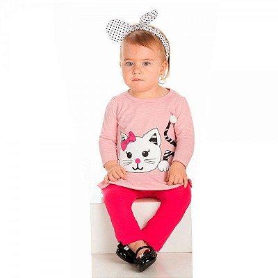 Conjunto Infantil Inverno Malha Cotton Ollelê Litte Gatinha Menina Rosa