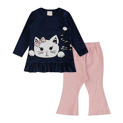Conjunto Infantil Inverno Malha Cotton Ollelê Litte Gatinha Menina Azul Marinho