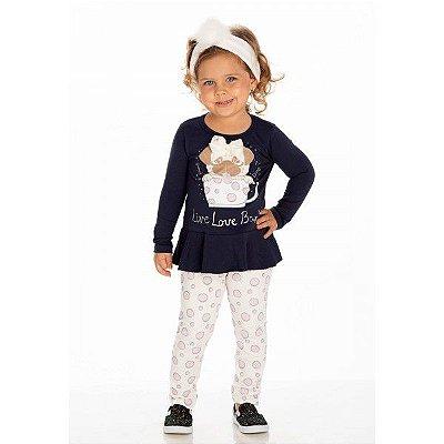 Conjunto Infantil Inverno Malha Cotton Ollelê Litte Live Love Bark Menina Diversas Cores