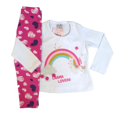 Conjunto Menina Blusa Manga Longa Cotton e Calça Legging Arco-Íris Valeen Kids Branco