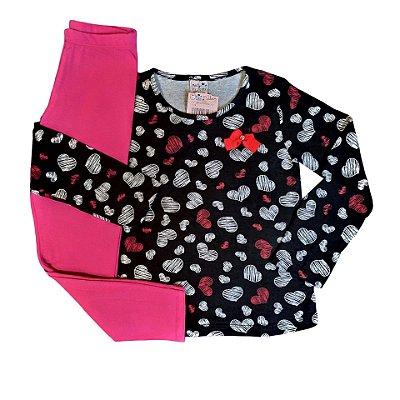 Conjunto Menina Blusa Manga Longa Cotton e Calça Legging Corações Valeen Kids Preto e Rosa
