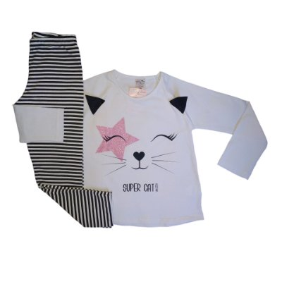Conjunto Menina Blusa Manga Longa Cotton e Calça Legging Super Cat Valeen Kids Branco