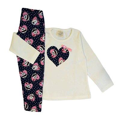 Conjunto Menina Blusa Manga Longa Cotton e Calça Legging Panda Gabizinha Branco