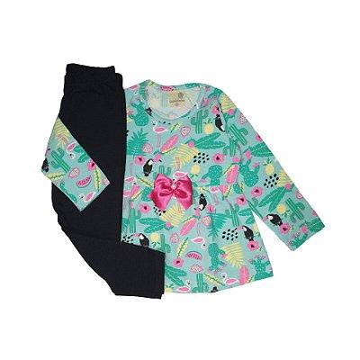 Conjunto Menina Blusa Manga Longa Cotton e Calça Legging Flamingo Gabizinha