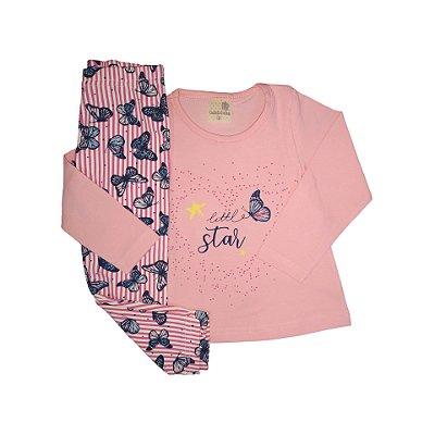 Conjunto Menina Blusa Malha Cotton e Calça Legging Little Star Gabizinha Rosa