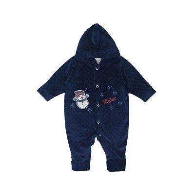 Macacão de Plush e Capuz Menino Winter Azul Marinho