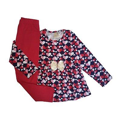 Conjunto Menina Blusa Malha Cotton e Calça Legging Corações Gabizinha