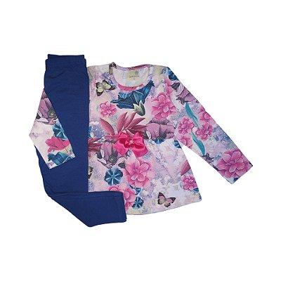 Conjunto Menina Blusa Malha Cotton e Calça Legging Flores de Primavera Gabizinha
