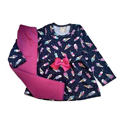 Conjunto Menina Blusa Malha Cotton e Calça Legging Hora da Diversão Gabizinha