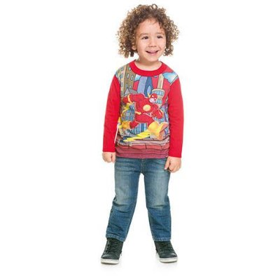 Camisa Infantil Manga Longa Liga da Justiça The Flash Licenciado DC Super Friends