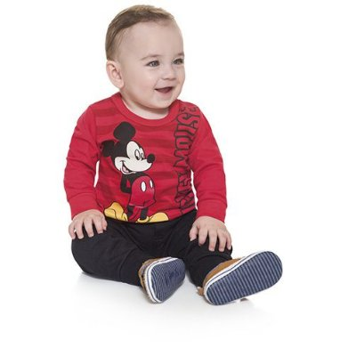 Camisa Infantil Bebê Manga Longa Mickey Mouse Licenciado Disney Baby