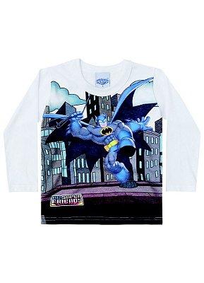 Camisa Infantil Brandili Bebê Manga Longa Liga da Justiça Batman Licenciado DC Friends