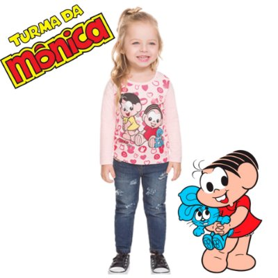 Camisa Infantil Brandili Manga Longa Turma da Mônica Baby Licenciado