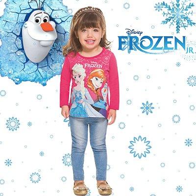 Blusa Infantil Brandili Manga Longa Frozen Licenciado Disney Baby Anna, Elsa e Olaf