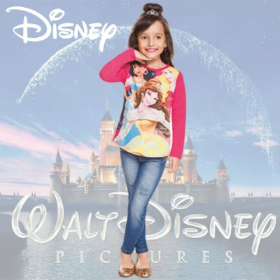 Blusa Infantil Brandili Manga Longa Princesas Jasmine, Aurora e Bela Licenciado Disney Baby