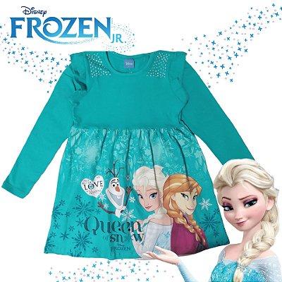 Brandili Vestido Infantil Frozen Licenciado Disney Baby Manga Longa, Anna, Elsa e Olaf