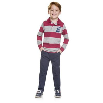Brandili Camiseta Infantil Polo Manga Longa Vermelho/Cinza