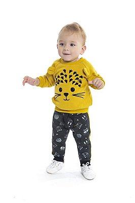 Conjunto Infantil Blusão em Moletom Peluciado Estampado e Calça de Moletom Gatinho Mostarda - Duduka&DDK