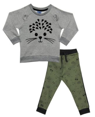 Conjunto Infantil Blusão em Moletom Peluciado Estampado e Calça de Moletom Gatinho Mescla - Duduka&DDK