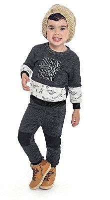 Conjunto Infantil Blusão em Moletom Peluciado Estampado e Calça de Moletom Danger Mescla Escuro - Duduka & DDK