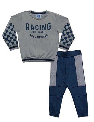 Conjunto Infantil de Blusão e Calça em Moletinho Peluciado Racing Cinza - Duduka & DDK