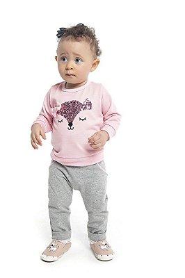 Conjunto Bebê Infantil Casaco Moletinho Peluciado Com Bordado Raposinha e Calça Molecotton - Duduka & DDK