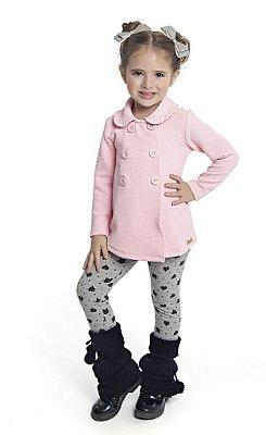 Conjunto Infantil com Casaco em Crepe e Legging em Cotton Estampada Rosa - Duduka & DDK
