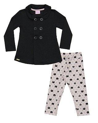 Conjunto Infantil com Casaco em Crepe e Legging em Cotton Estampada Preto - Duduka & DDK