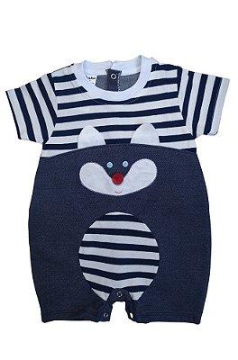 Macacão Infantil Cauã Raposinha Jeans / Marinho Listrado - Fofinho Bebê