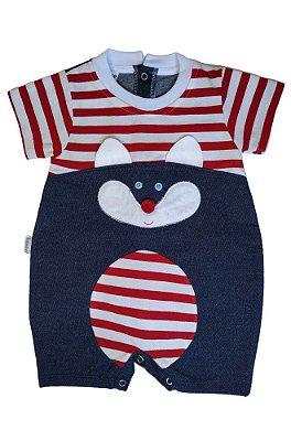 Macacão Infantil Cauã Raposinha Jeans / Vermelho Listrado - Fofinho Bebê