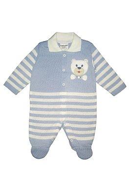 Macacão Infantil Longo Elias Tricô Azul Ursinho  - Fofinho Bebê
