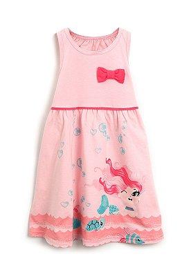 Vestido Elian Verão Infantil Bebê Sereia Rosa