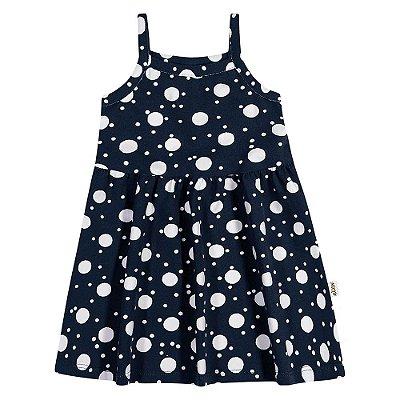 Vestido Verão Infantil Bebê Elian Estampa Bolinhas Azul Marinho/Branco