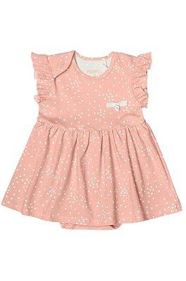 Vestido Body de Bolinhas Menina Cotton Lycra Rosa – Minore