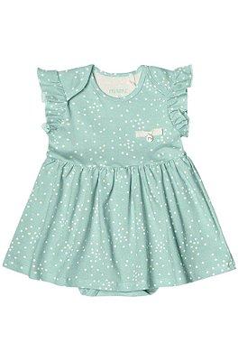 Vestido Body de Bolinhas Menina Cotton Lycra Verde – Minore