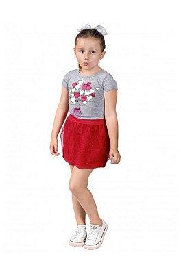 Conjunto Ollelê Little Menina Blusa Malha e Saia Corações Mescla e Vermelho