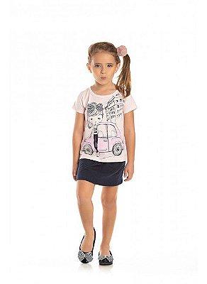 Conjunto Ollelê Little Menina Fashion Azul e Mescla
