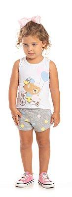 Conjunto Ollelê Little Menina Ursinhos Branco e Natural
