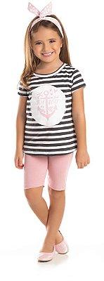 Conjunto Ollelê Little Menina Boat Listrado Preto / Rosa
