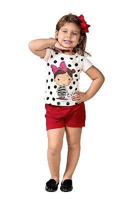 Conjunto Ollelê Little Menina Cute Natural