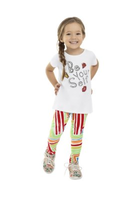Conjunto Infantil Menina Be Your Self Algodão com Calça Legging Branco e Lilás – Bee Loop